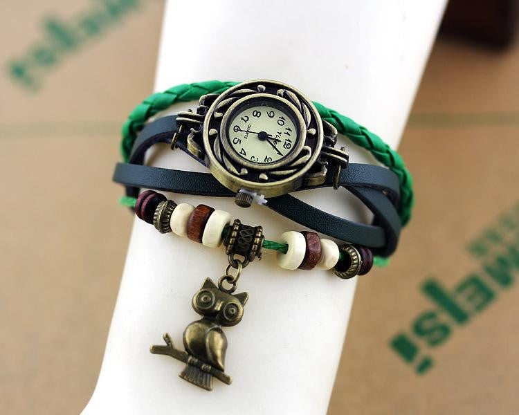 Weave Wrap Around Leather Bracelet Watch