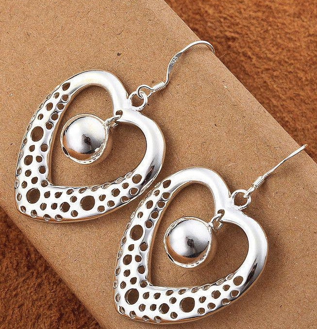 Sterling Silver Heart Hook Earring with Small Ball