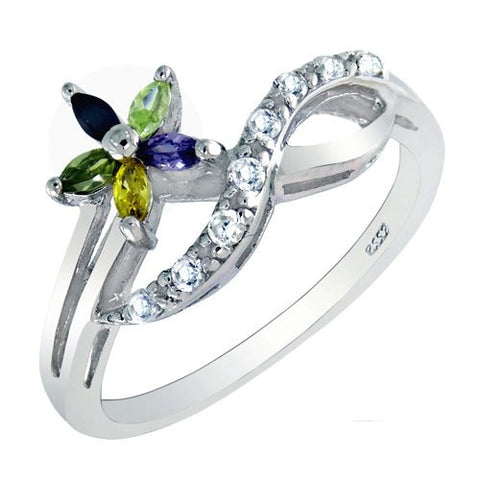 Sterling Silver CZ Infinity & Flower Ring