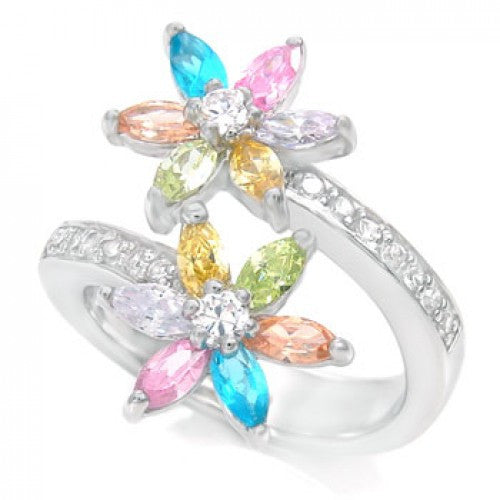 Sterling Silvr CZ Multi Color Flower Ring