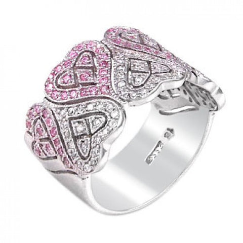 Sterling Silver Cubic Zirconia Pink CZ Heart Ring