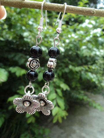 "Tibetan Silver ""Flower"" Earrings"