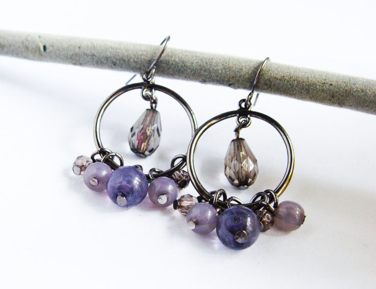 Purple Acrylic Beads Earrings