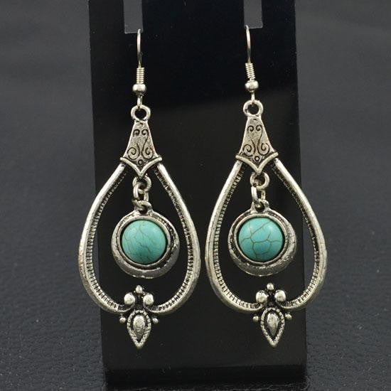 VintageTibetan Silver Turquoise Drop Earrings