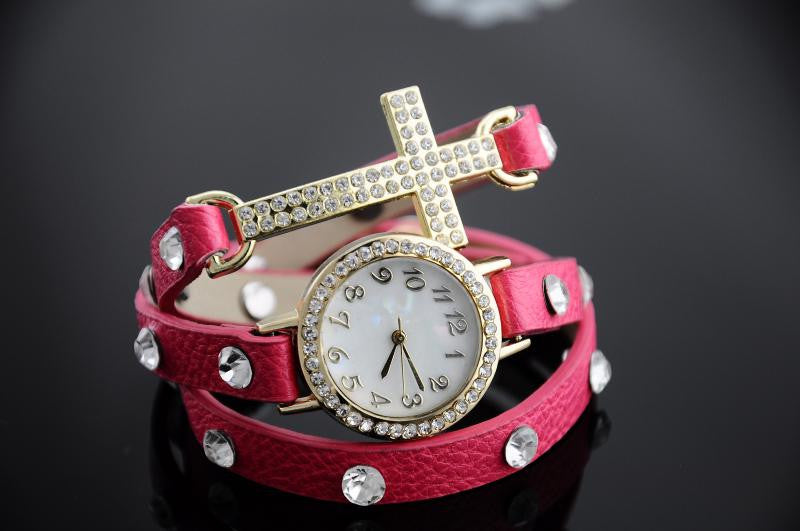 Cross Crystal Leather watch