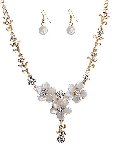Rhinestone Necklace with Flowers And Pearl Accent Earring Set