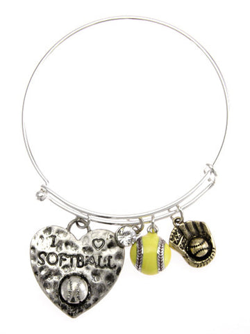 Heart Softball Bracelet