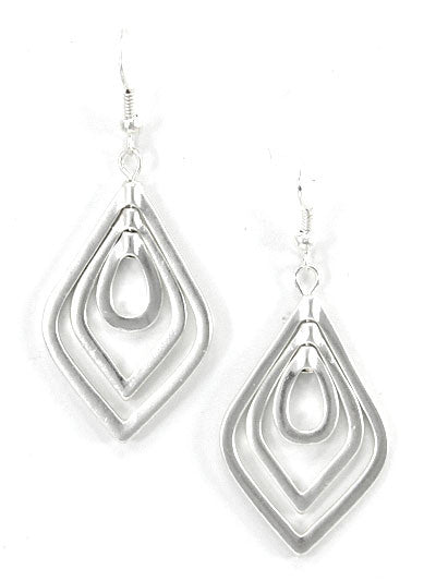 Layered Ellipses Silver  Earrings