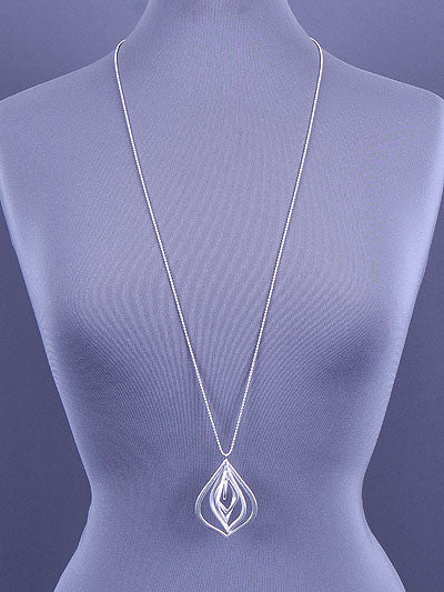 Silver Ellipses Spinning Pendant Necklace
