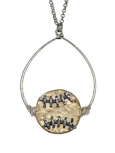 Silver Softball Pendant Necklace