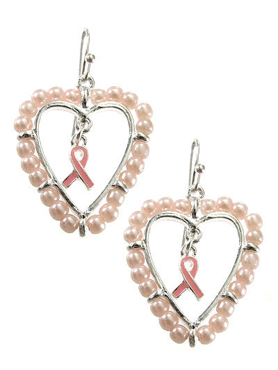 Heart Shaped Pink Ribbon Earrings