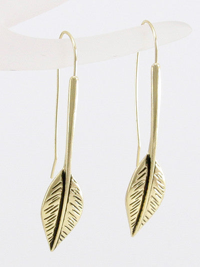 Fish Hook Leaf Dangle Earrings