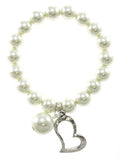 Silver Heart On Beads Stretch Bracelet