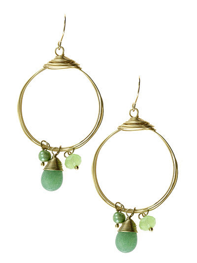 Round Crystal Gold Tone Layered Dangle Earrings