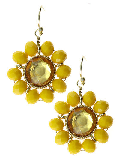 Yellow Crystal  Floral Design Dangle Earrings
