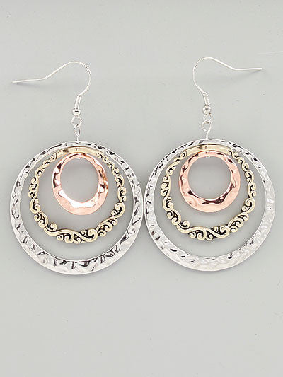 Metal Casting Hoop Dangle Earrings