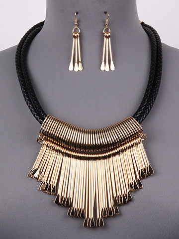 Gold Bar W/ Black Cord Necklace Set