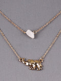 Double Row Elephant Charm Necklace/Earring Set