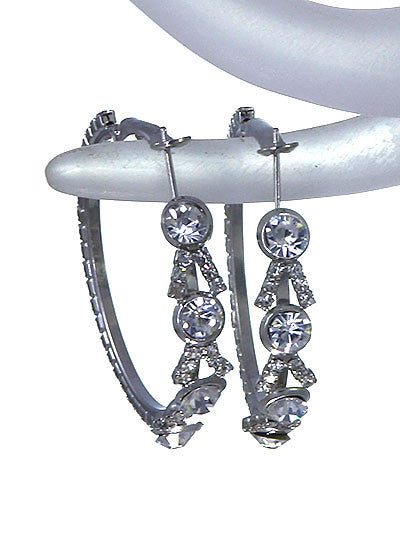 Silver Hoop Earrings W/ Rhinestones