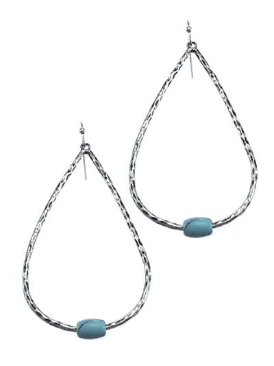 Worn Silver Tone Teardrop Shape Turquoise Stones Earrings