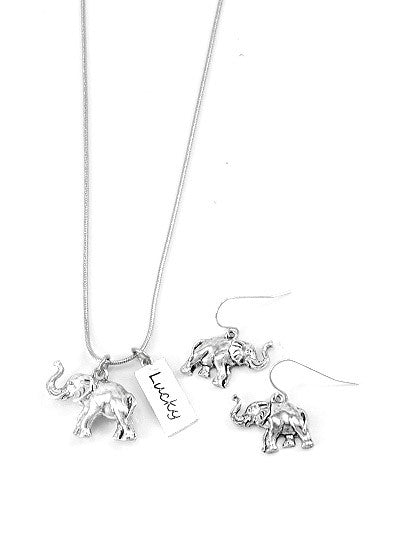 Lucky Elephant Necklace and Earrings Set