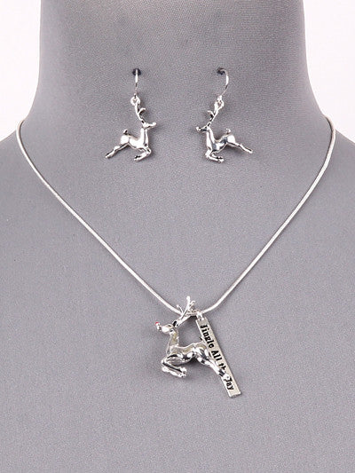 3D Rudolph Necklace set