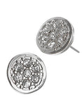 Round Stud Earrings W/ Rhinestones