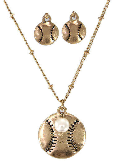 Baseball Necklace Set