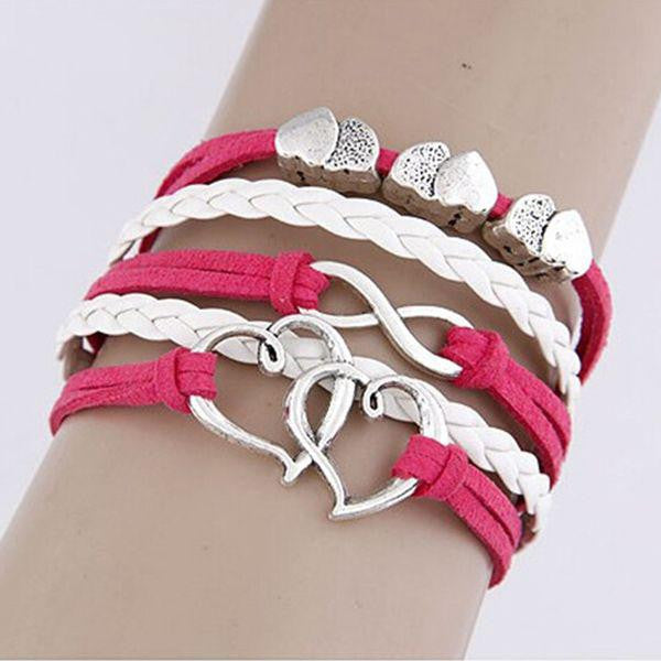 Owl Infinity Heart Silver Color Pink White Wax Cords Leather Braid Leather Bracelet