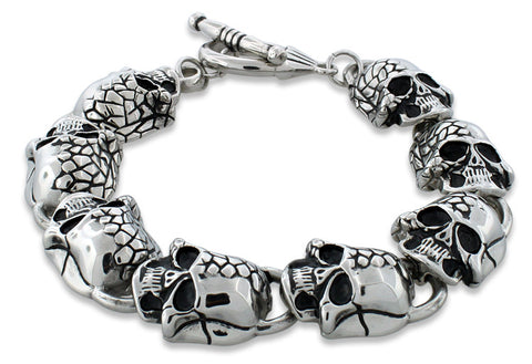 Stainless Steel Two Face Skull Link Bracelet