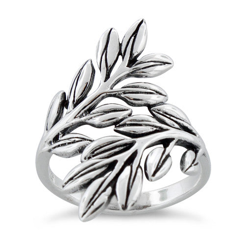 Silver Two Leaves Sterling Silver Ring