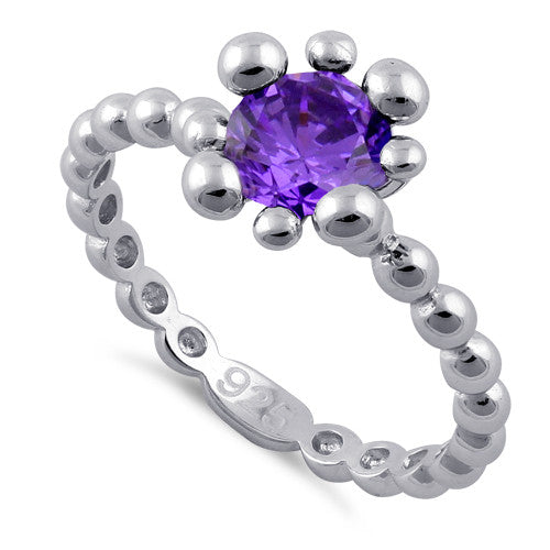 Sterling Silver Beaded Amethyst Round CZ Ring