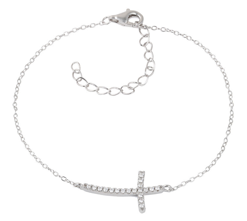 Sterling Silver CZ Cross Bracelet