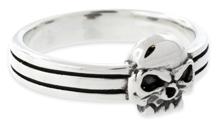 Sterling Silver Double Lines Skull Ring