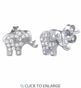 Sterling Silver Elephant CZ Earrings