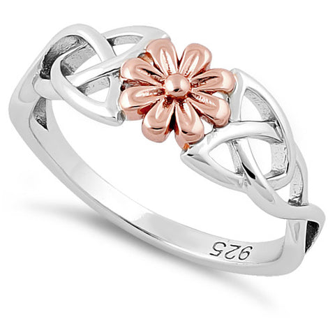 Sterling Silver Two Tone Celtic Daisy Rose Ring
