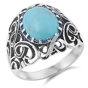 Sterling Silver Oval Turquoise Celtic Ring