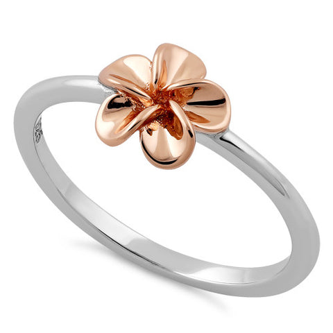 Sterling Silver Rose Plumeria Ring