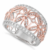 Sterling Silver Rose Gold Two Tone Flower CZ Ring