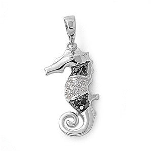 Sterling Silver Seahorse Black and White CZ Pendant