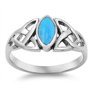 Sterling Silver Turquoise Marquise Celtic Ring