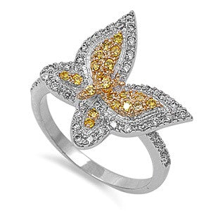 Sterling Silver Two Tone Butterfly CZ Ring