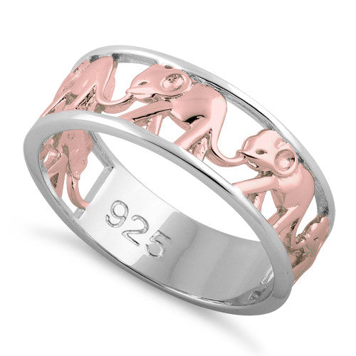 Sterling Silver Rose Gold Elephant Ring