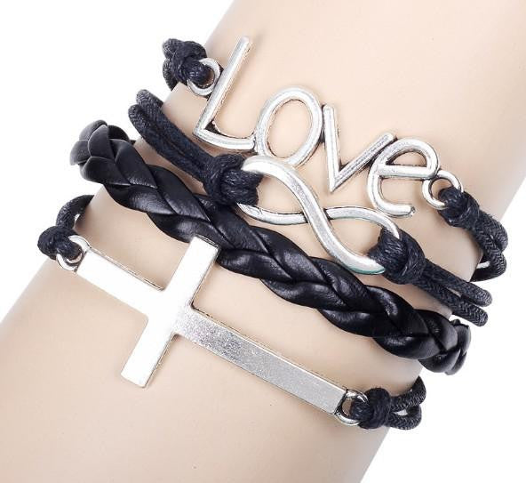 Vintage Love Cross Infinity charm bracelet women mens Leather Bracelets