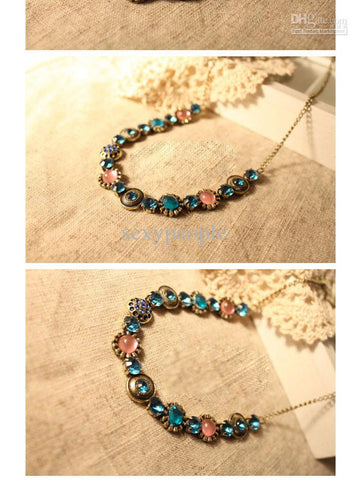 Colored Rhinestone Vintage Choker Necklace