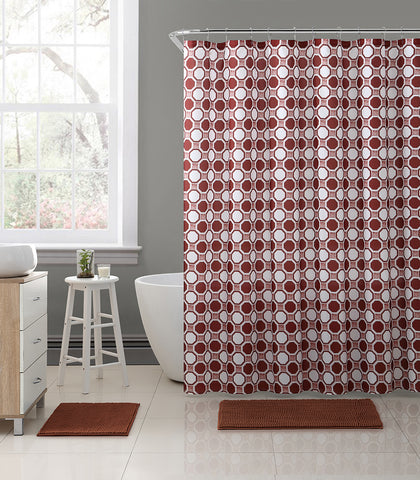 Royal Bath Geometric Tiles Embossed Microfiber Fabric Shower