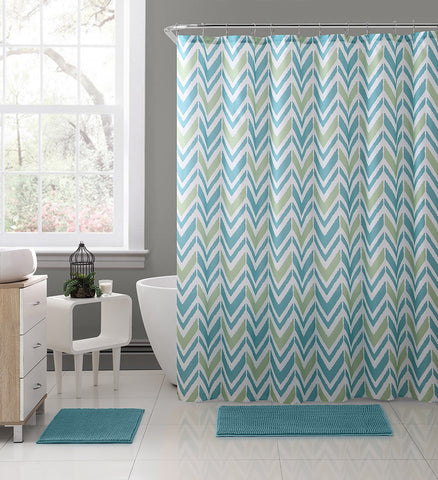 "Royal Bath 2 Tone EKG Chevron Embossed Microfiber Fabric Shower Curtain - 72"" x 72"""