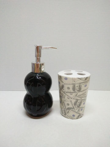 Royal Bath Novelty It's All About the Benjamins 2 Piece Ceramic Bath Set: 1 Lotion Pump and 1 Toothbrush Holder - Black