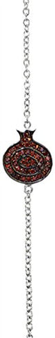 Silver Pomegranate Bracelet With Red Stones - 8 inch