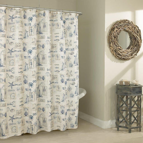 "Royal Bath Beach Home Classic Textured Fabric Shower Curtain 70"" x 72"""